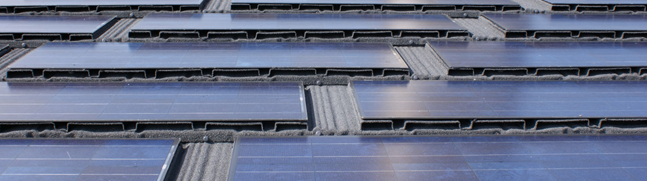close up of integrated photovoltaic roof tiles