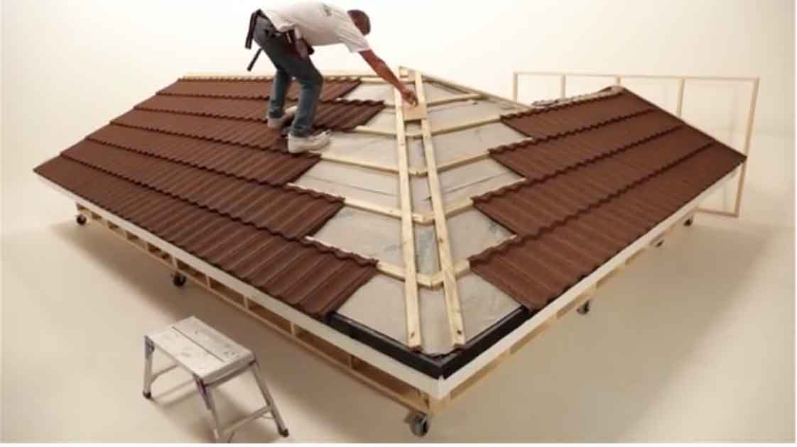 Metrotile Lightweight Roofing Video Installation Guide Battens Metrotile Bond in Bronze