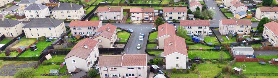 residential area from above Metrotile lightweight roofing Brindle