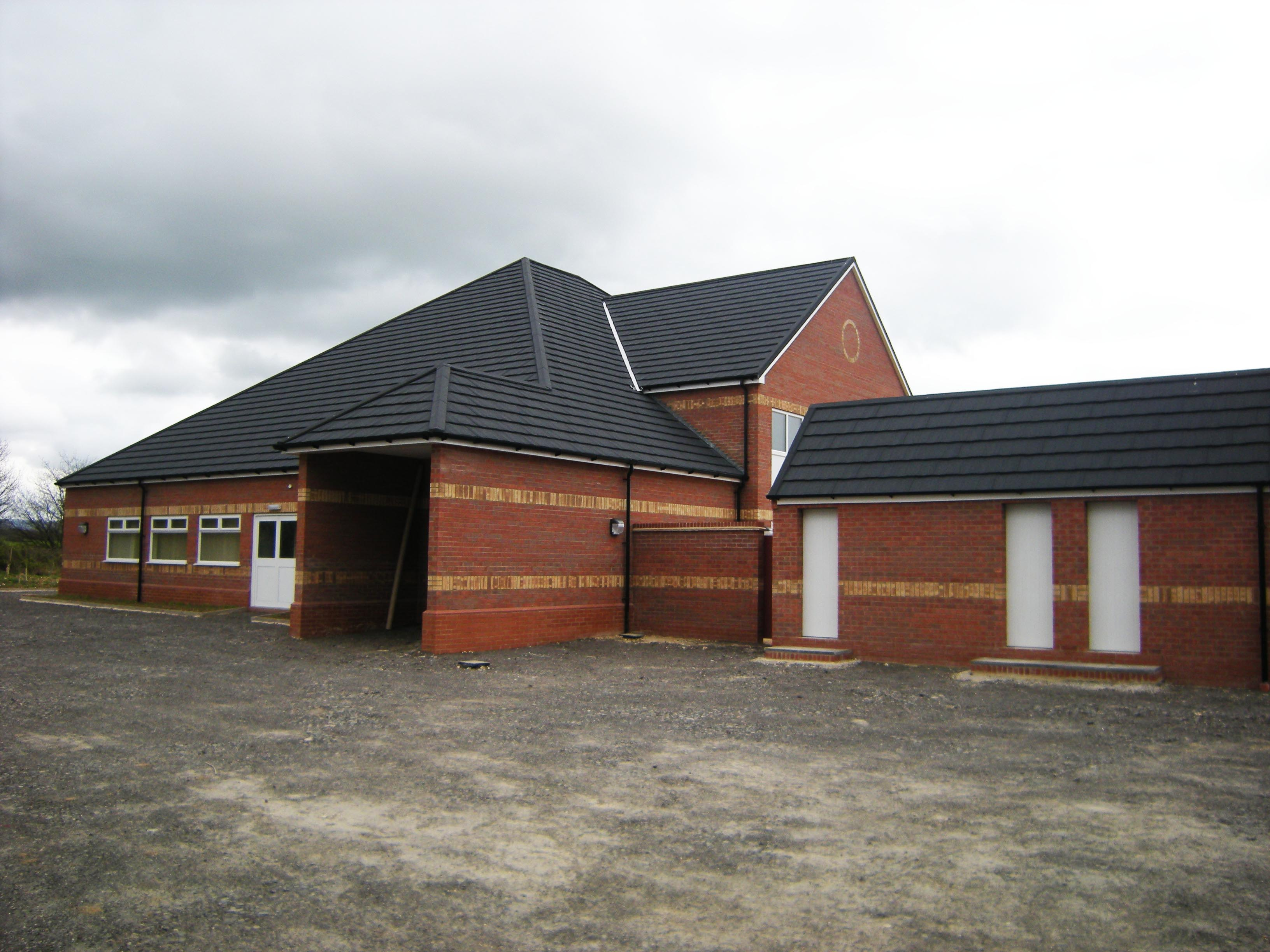 Evesham Football Club Clubhouse Metrotile Lightweight Roofing in Charcoal Slate