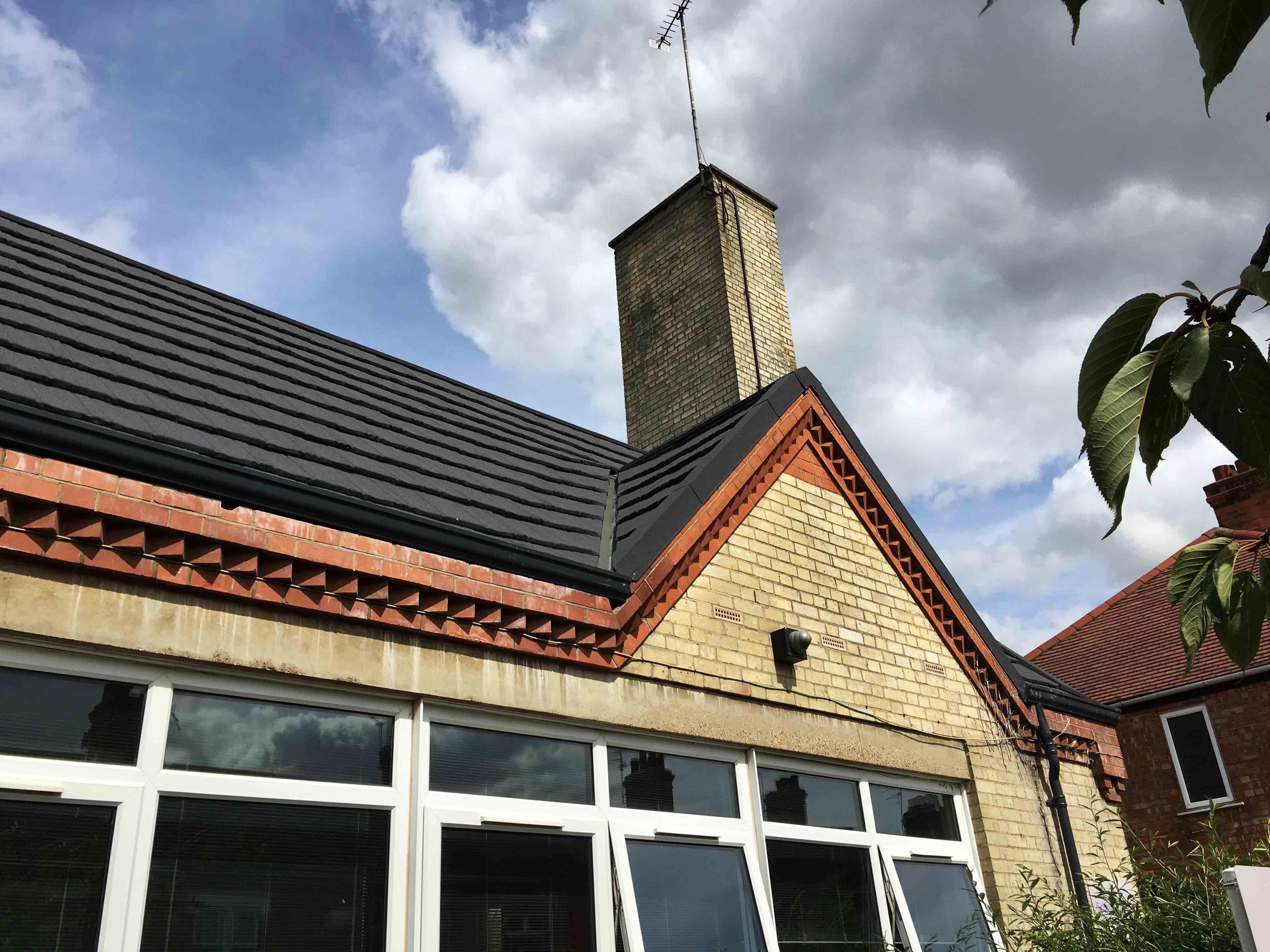 School with Metrotile Woodshake Roofing Refurbishment Charcoal