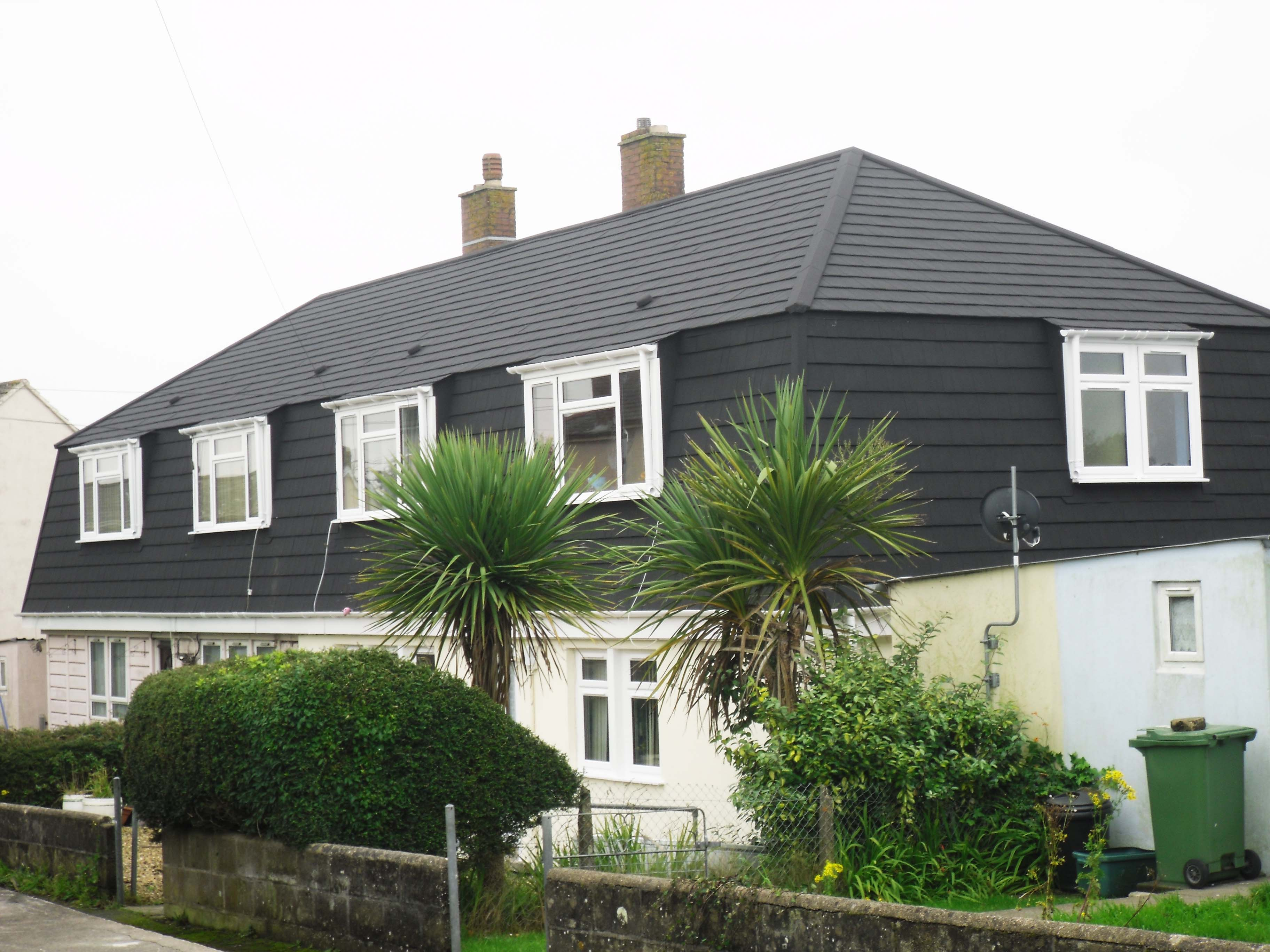 Local Authority Cornish Unit Roof and Mansard Refurbishments with Metrotile Lightweight Roofing in Ebony Shingle Devon